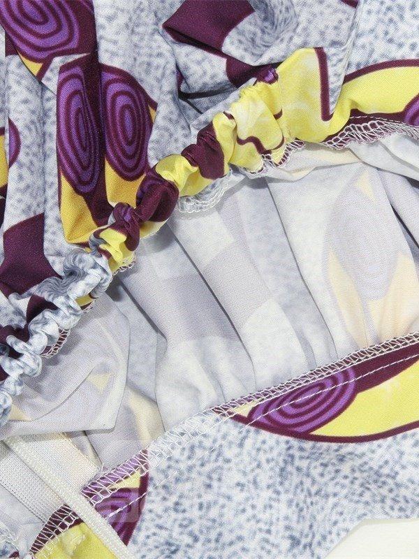 Folk-Custom Waistband Mid-Calf Straight High-Waist Printed Maxi