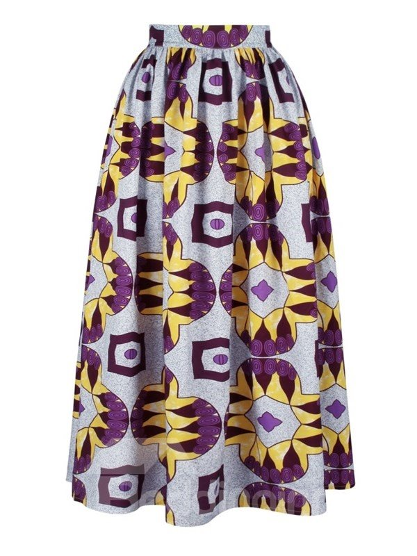 Folk-Custom A-Line High-Waist Knee-Length 3D Painted Skirt