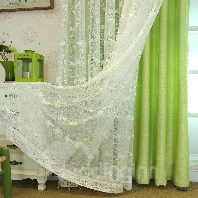 Decoration Modern and Korean Style Milk Sheer and Green Lining Curtain sets