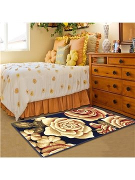 63×91in Blue Background with Golden Roses Printed Rectangle Polypropylene Soft Area Rug