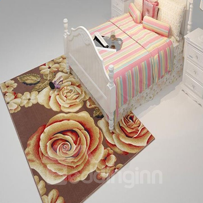Classical Rose Printing Brown Color Modern and Pastoral Style Living Room and Bed Room Carpet