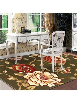 63×91in Green Background with Golden Roses Printed Rectangle Polypropylene Soft Area Rug