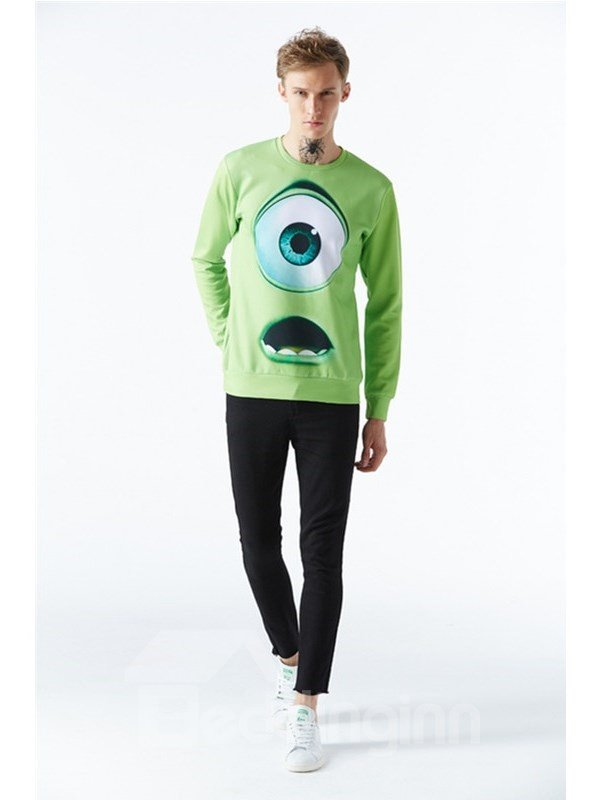 Wizard Big Eyes Spandex Long Sleeve Mens 3D Sweatshirt