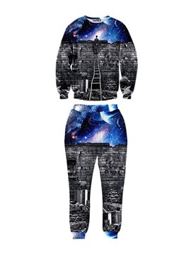 A Man Stand on the Chair Lying the Wall Spandex Long-Sleeve Men's 3D Sweatshirt Sets