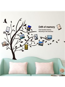 Black Tree and Birds 8 Photo Frames PVC Waterproof and Environmental Wall Stickers