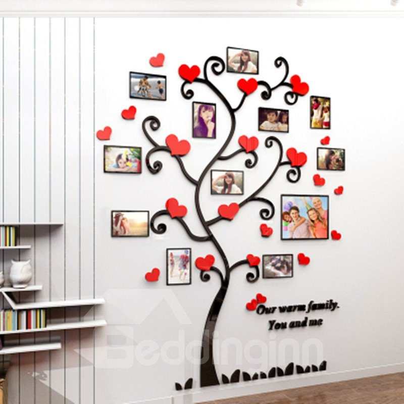 Black Branches with Red Heart 12 Photo Frames Acrylic Environmental 3D Wall Stickers
