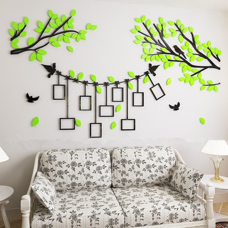 green tree and birds 7 photo frames acrylic environmental 3d wall