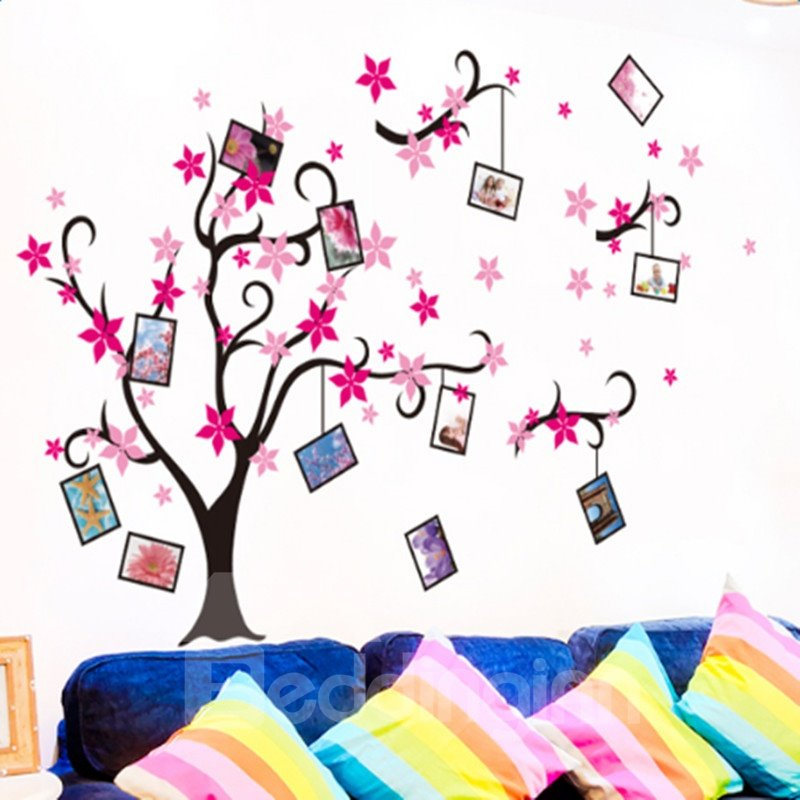 Black Branches with Red and Pink Flowers 12 Photo Frames Waterproof Wall Stickers