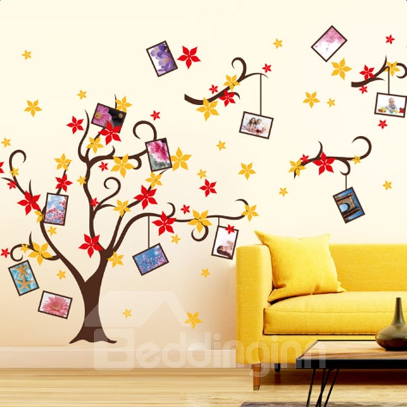 Brown Branches with Red and Yellow Flowers 12 Photo Frames Waterproof Wall Stickers