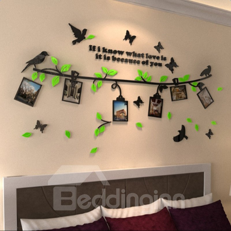 Tree Branches Birds and Butterflies 7 Photo Frames Acrylic Waterproof 3D Wall Stickers