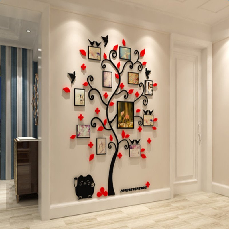 Tree Red Flowers Birds Acrylic 10 Photo Frames Environmental 3D Wall Stickers