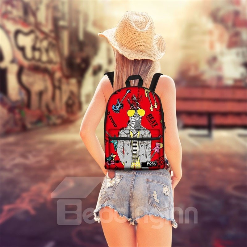 3D Pattern Rock Pop Horse School Outdoor for Man&Woman Backpack