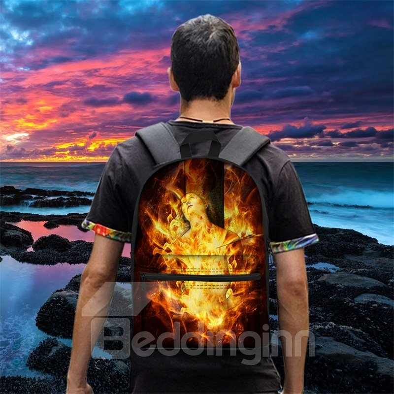 Washable 3D Fire Lightweight School Outdoor Backpack