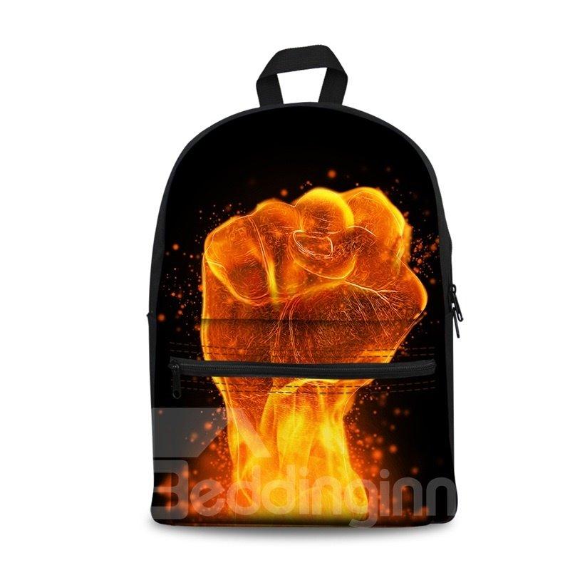 3D Pattern School Fist Fire Black Outdoor for Man&Woman Backpack