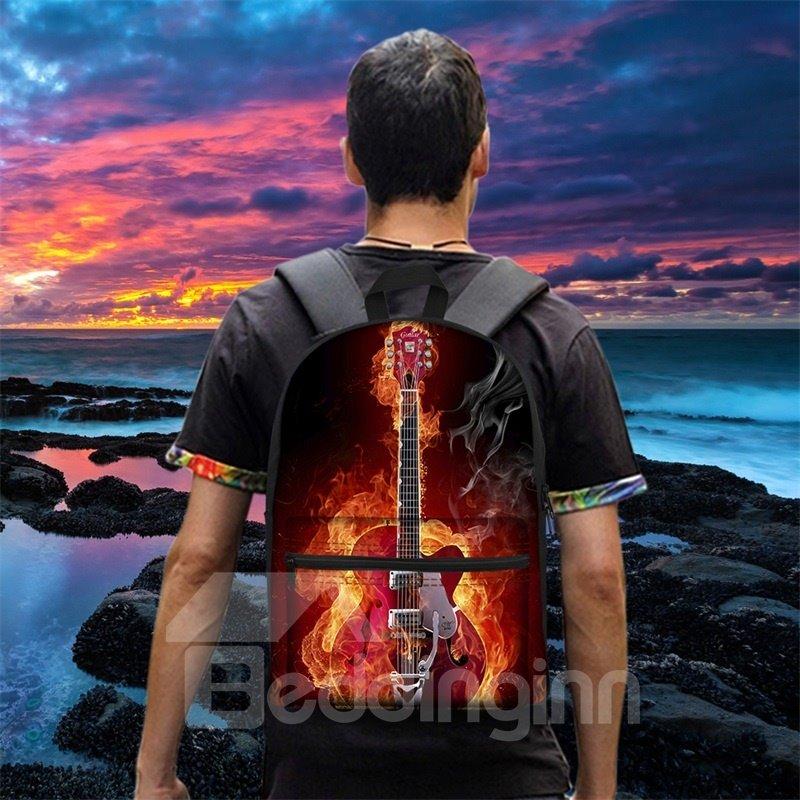Guitar Rock Music Fire Fan 3D Pattern School Outdoor for Man&Woman Backpack