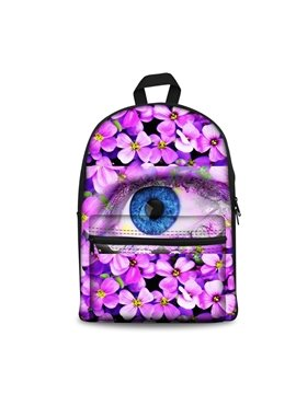 Washable Lightweight Floral Eyes Purple 3D School Outdoor Backpack