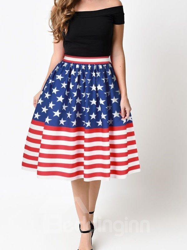 US Flag Pattern Formal Midi Comfortable High Quality 3D Printing Skirt