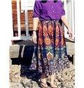 Bohemia Summer Beach Formal Folk-Custom Midi 3D Printing Skirt
