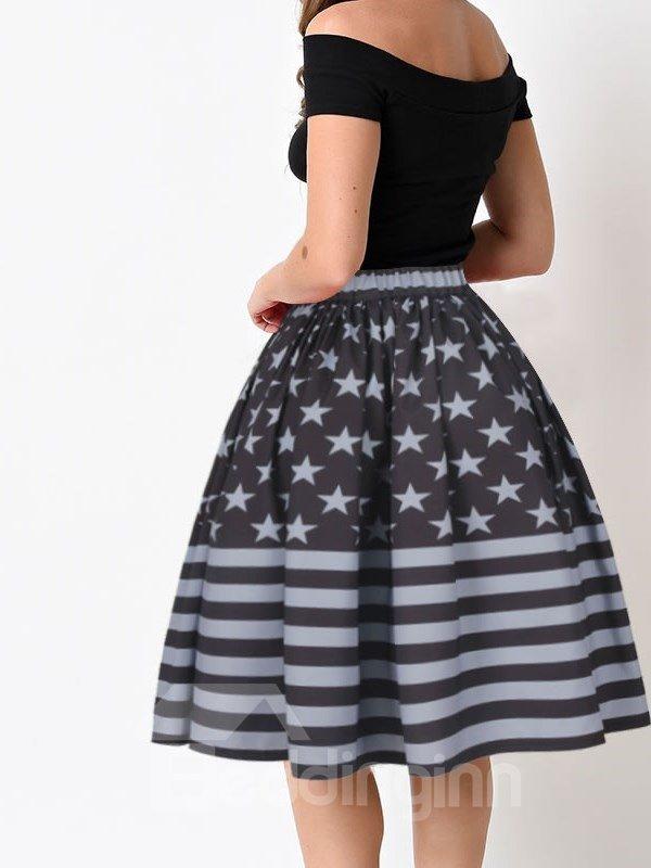 Flag Design Pattern Midi Black Formal 3D Printing Skirt