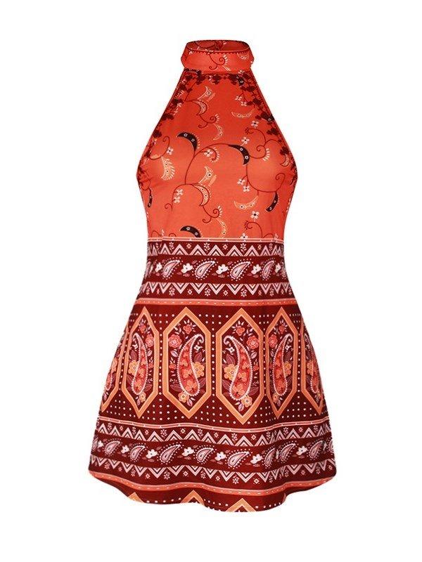 Folk-Custom High Quality Beach Floral Red Fashion Sleeveless Backless Style Dress