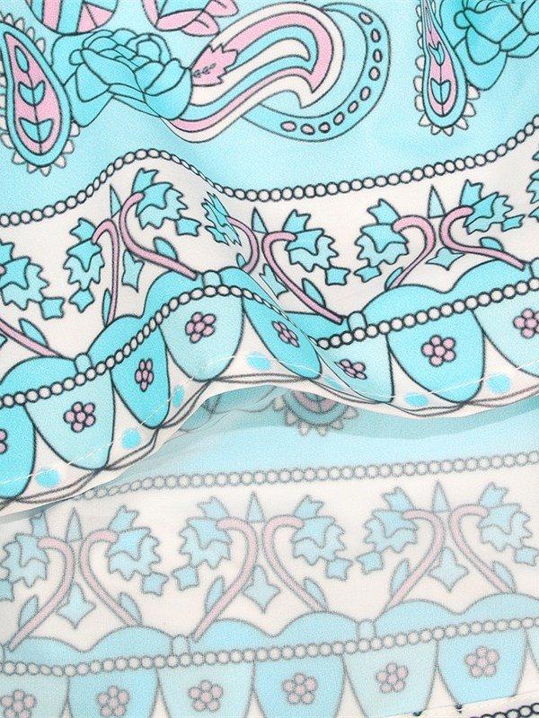 Peacock Blue 3D Print Pattern Long Sleeve Deep V Neck Beach Summer Dress