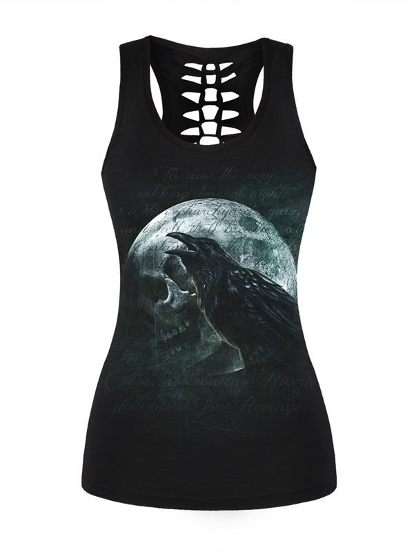 Bird and Skull Comfortable Sexy Printing Sleeveless Round Neck Exercise 3D Tank Top