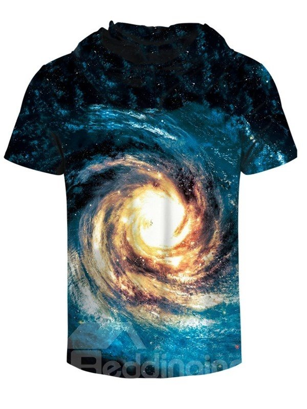 Galaxy Vortex Comfortable Round Neck 3D Short Sleeve for Men Hooded T-shirt