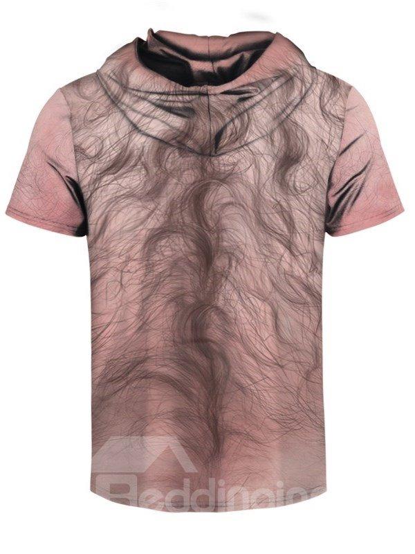 Simulation Chest Hair Round Neck 3D Short Sleeve for Men Hooded T-shirt