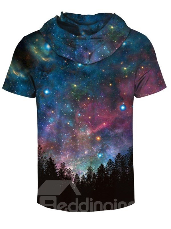 Countryside Night Scenery 3D Printed Short Sleeve for Men Hooded T-shirt