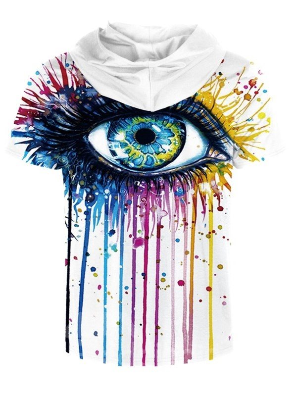 Big Eye Colorful Paintng Round Neck Comfortable 3D Short Sleeve for Men Hooded T-shirt