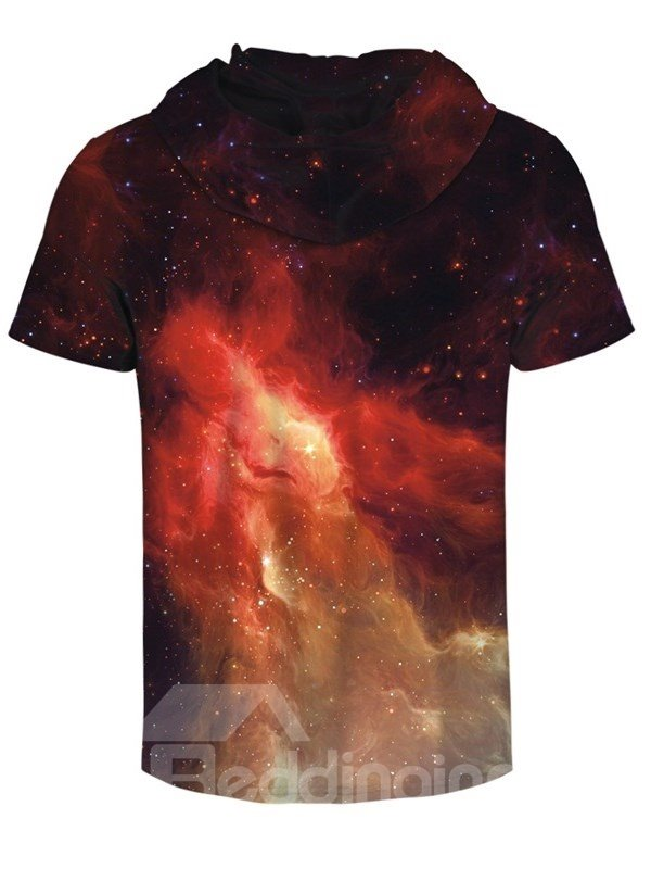 Light in the Galaxy 3D Printed Short Sleeve for Men Hooded T-shirt