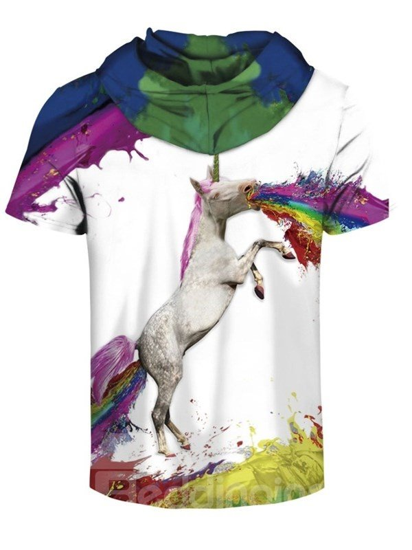 Rainbow Colorful Unicorn 3D Printed Short Sleeve for Men Hooded T-shirt