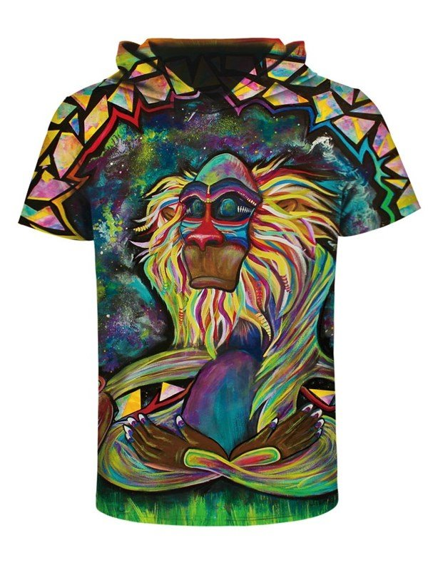 Indian Apes 3D Printed Short Sleeve Coloful for Men Hooded T-shirt