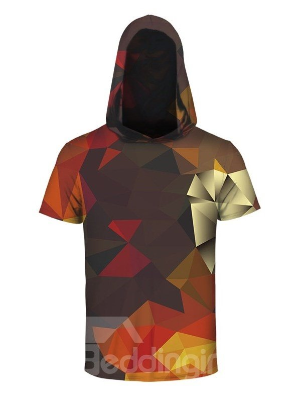 Geometric Rhombus 3D Printed Short Sleeve Coloful for Men Hooded T-shirt