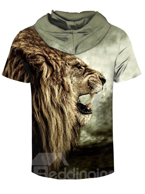 Lion Roar 3D Printed Short Sleeve Side face for Men Hooded T-shirt