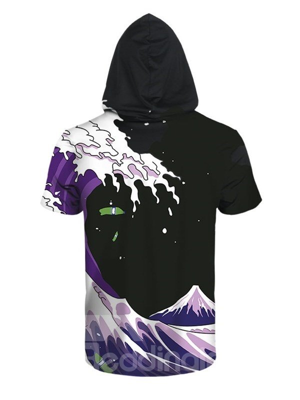 Blue Waves and Sea 3D Printed Short Sleeve for Men Hooded T-shirt