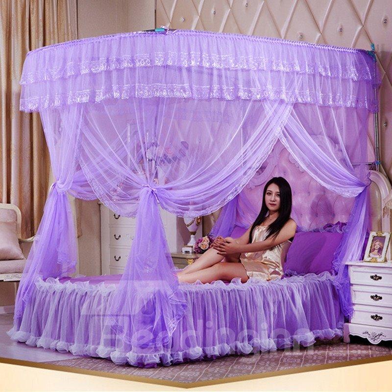 Purple U-Shape Rail Stainless Steel Bracket Polyester Retractable Bed Nets