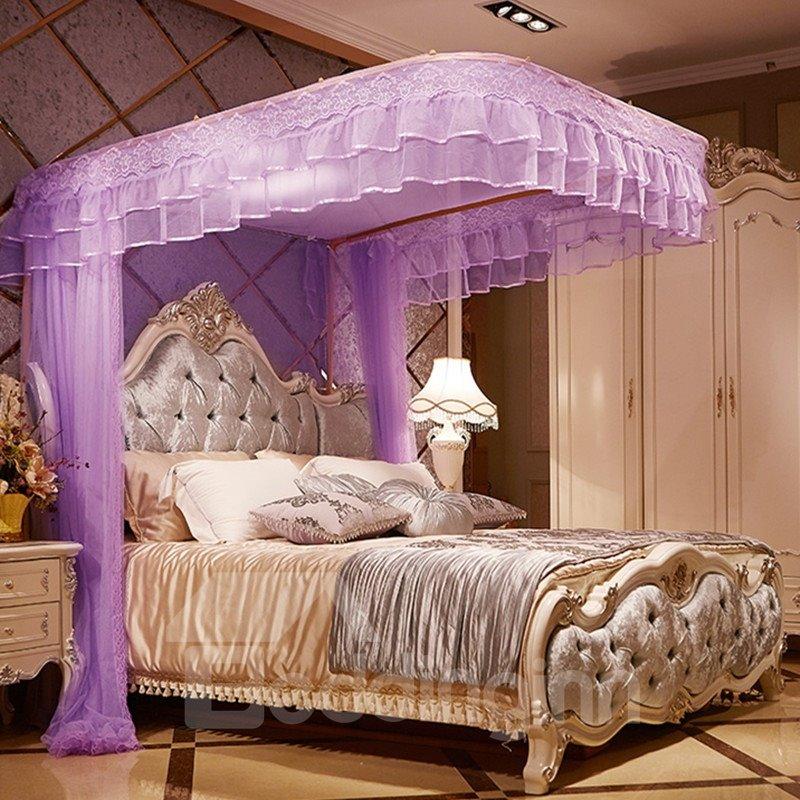 Luxury Purple U-Guide Rail Stainless Steel Bracket Polyester Retractable Bed Nets