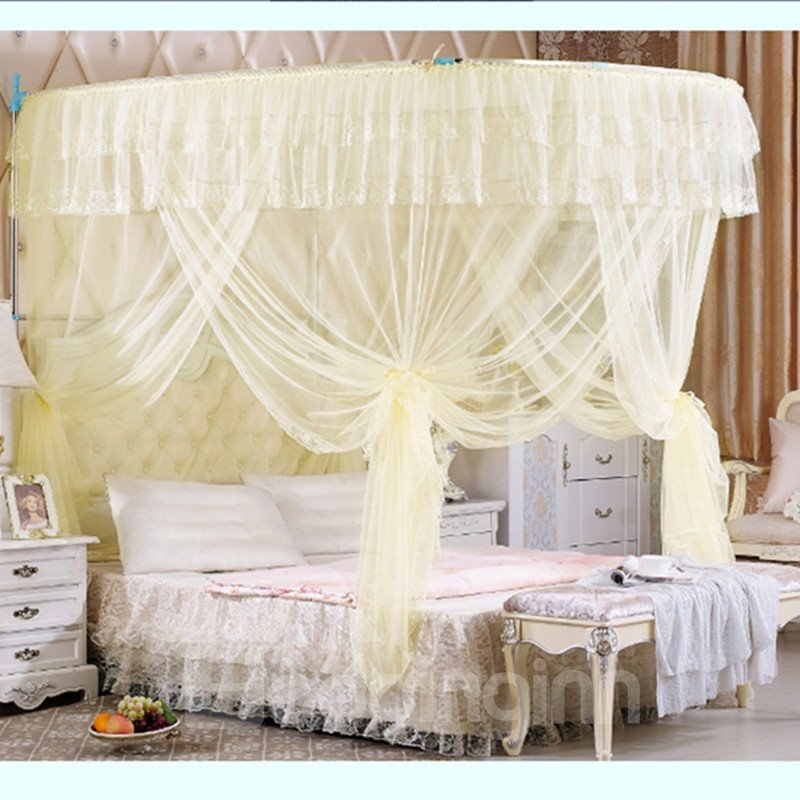 Yellow U-Shape Rail Stainless Steel Bracket Polyester Retractable Bed Nets