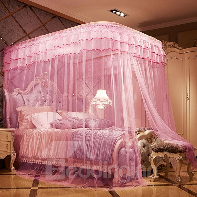 Luxury Pink U-Guide Rail Stainless Steel Bracket Polyester Retractable Bed Nets