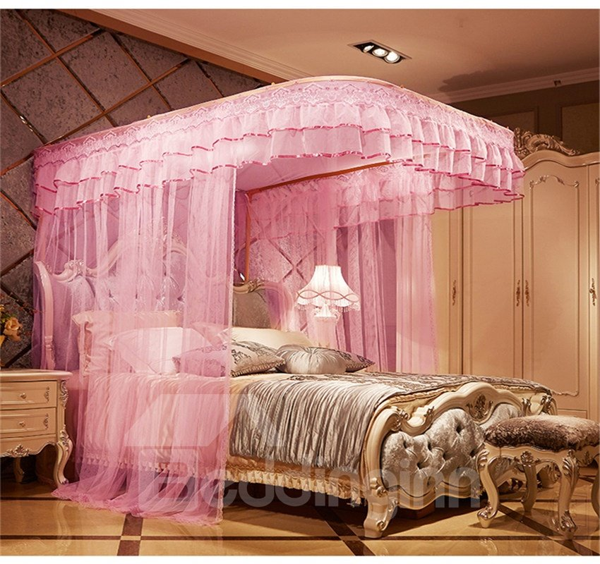 56 Luxury Pink U Guide Rail Stainless Steel Bracket Polyester Retractable Bed Nets