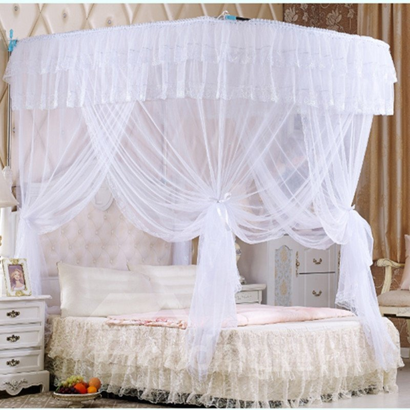 White U-Shape Rail Stainless Steel Bracket Polyester Retractable Bed Nets