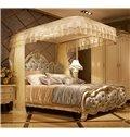 Beige Luxury U-Guide Rail Stainless Steel Bracket Polyester Retractable Bed Nets