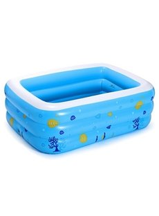 77*56*24in Portable Inflatable Rectangular PVC Blue Adult SPA Bathtub