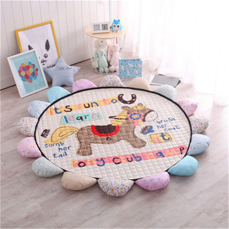 Cartoon Horse Round Shape Polyester Baby Play Floor Mat/Crawling Pad