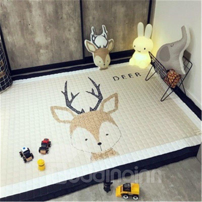 Sika Deer Pattern Rectangular Polyester Beige Baby Play Floor Mat/Crawling Pad