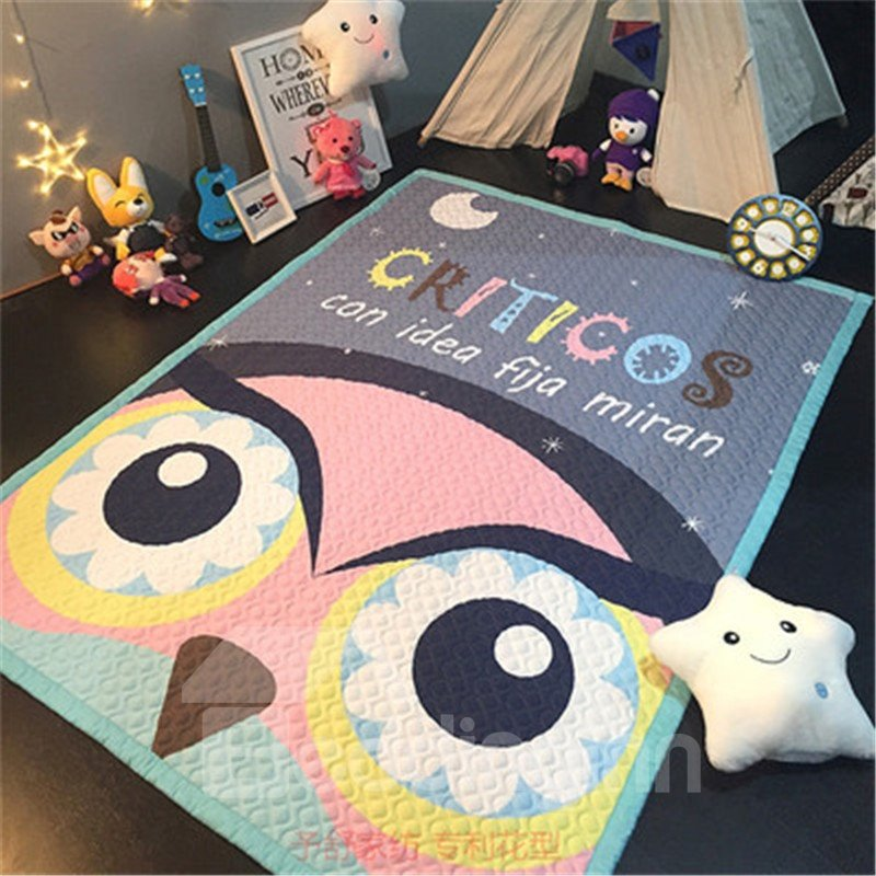 Owl Pattern Rectangular Polyester Baby Play Floor Mat/Crawling Pad