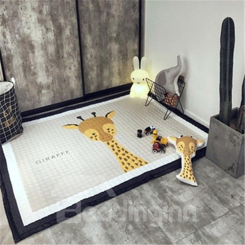 Giraffe Pattern Rectangular Polyester Baby Play Floor Mat/Crawling Pad