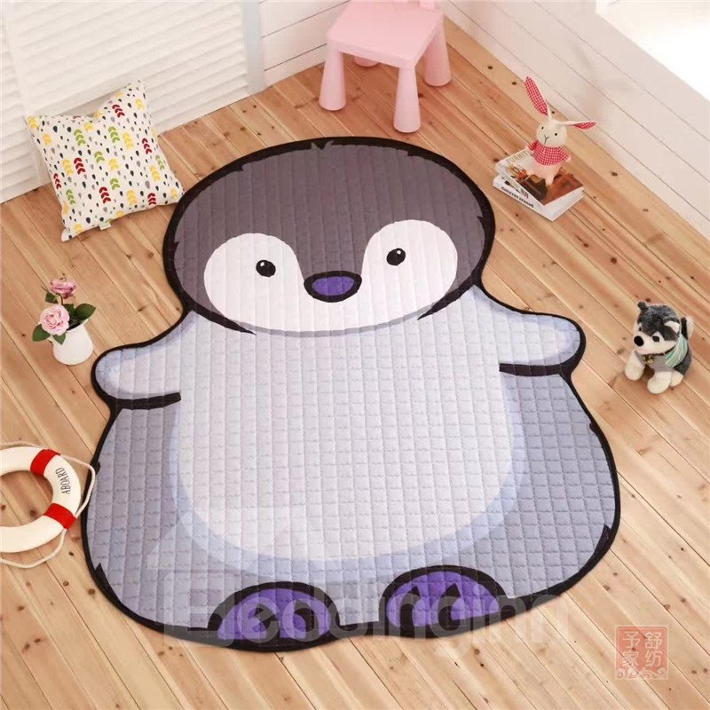 Penguin Shape Polyester Blue Baby Play Floor Mat/Crawling Pad