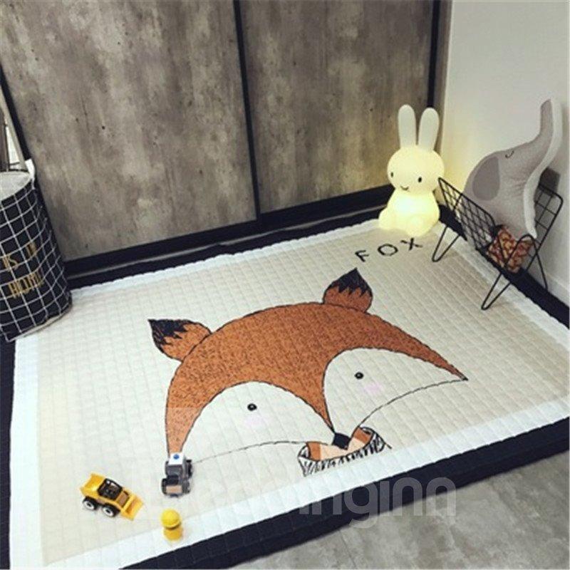 Fox Pattern Rectangular Polyester Baby Play Floor Mat/Crawling Pad